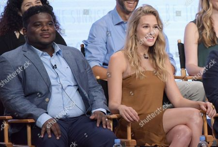"""Jonathan Langdon, left, and Tori Anderson participate in the """"No Tomorrow"""" panel during The CW Television Critics Association summer press tour, in Beverly Hills, Calif"""