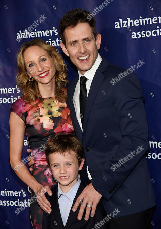"Joey McIntyre, right, poses with his wife Barrett Williams McIntyre and their son Griffin Thomas at the 23rd Annual ""A Night at Sardi's"" event to benefit the Alzheimer's Association, at the Beverly Hilton Hotel, in Beverly Hills, Calif"
