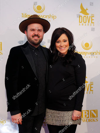 Kari Jobe, right, and husband Cody Carnes attend the 46th Annual GMA Dove Awards at Lipscomb University, in Nashville