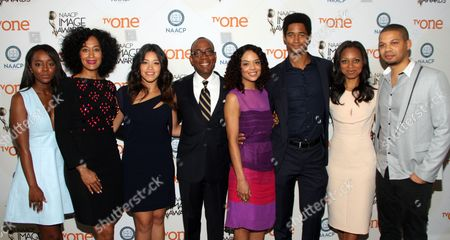 From left) Actors Aja Naomi King, Tracee Ellis Ross, Gina Rodriguez, Cornell William Brooks, President & CEO, NAACP, Tessa Thompson, Alfred Enoch, Nischelle Turner and Jake Smollett seen at 46th NAACP Image Awards Nomination Announcement at The Paley Center for Media, in Beverly Hills, CA. (Photo by