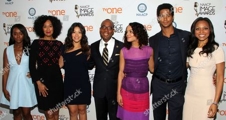 From left) Aja Naomi King, Tracee Ellis Ross, Gina Rodriguez, Cornell William Brooks, President & CEO, NAACP, Tessa Thompson, Alfred Enoch and Nischelle Turner seen at 46th NAACP Image Awards Nomination Announcement at The Paley Center for Media, in Beverly Hills, CA