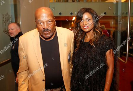 Former NFL player Jim Brown, left, and Monique Brown attends the 4th annual NFL Honors at the Phoenix Convention Center Symphony Hall on