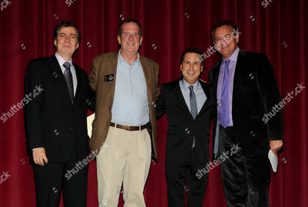 From left, writer Kirk Ellis, Academy Governor Peter Hammond, nominee Paul Greenberg and actor/nominee Hugh Bonneville attend the 65th Primetime Emmys Writers Nominee Reception,, at the Leonard H. Goldenson Theatre, in North Hollywood, Calif