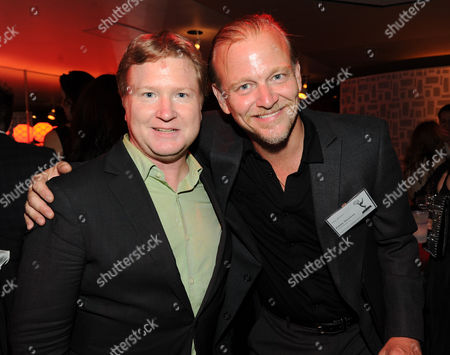 From left, nominees Kevin Bleyer and Tony Barbieri attend the 65th Primetime Emmys Writers Nominee Reception,, at the Leonard H. Goldenson Theatre, in North Hollywood, Calif