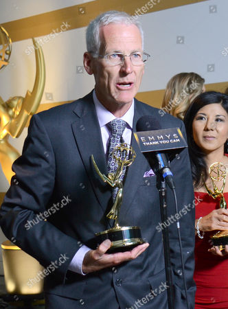 """NBC4's Patrick Healy, winner of the award for education for """"Running Dry: California's Historic Drought"""" participates in an interview at the 67th Los Angeles Area Emmy Awards at the Skirball Cultural Center on"""