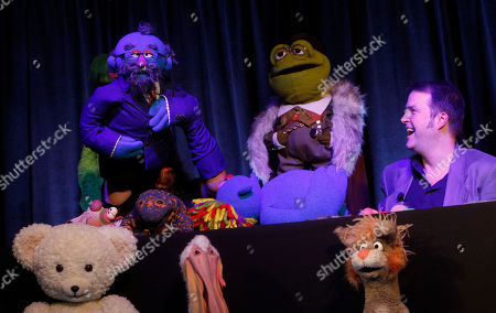 Puppeteer Tyler Bunch, left, and Creative Supervisor Jason Weber, both of The Jim Henson Company, give a presentation at Advertising Week on in New York