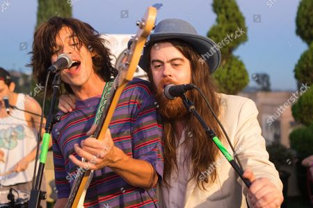 From left Christian Zucconi and Sean Gadd of Grouplove perform at the Alt 98.7 Penthouse in the Historic Hollywood Tower on in Hollywood, California