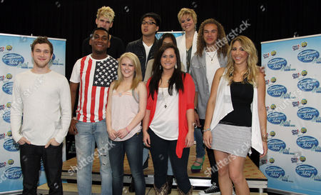 "American Idol"" season 11 contestants, from left, Phillip Phillips, Joshua Ledet, Colton Dixon, Hollie Cavanagh, Jessica Sanchez, Heejun Han, Skylar Laine, Erika Van Pelt, DeAndre Brackensick, and Elise Testone pose together at the American Idol Live! Tour press junket on in Los Angeles"