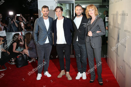 Actors Jamie Dornan, left, Cillian Murphy, director Sean Ellis and Anna Geislerova pose for photographers upon arrival at the premiere of the film 'Anthropoid' in London