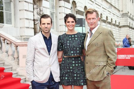 Mel Raido, Gemma Arterton and Jason Flemyng pose for photographers upon arrival at the opening of Somerset House Summer Screen and premiere of Gemma Bovery in London