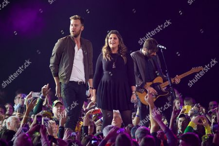 From left Charles Kelley, Hilary Scott and Dave Haywood of Lady Antebellum perform at the CMT Ultimate KickOff Party at Kay Bailey Hutchison Convention Center, in Dallas