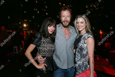 From left, Ksenia Solo, Kris Holden-Ried and Zoie Palmerseen attend Hyundai and Skybound's 'The Walking Dead' 10th Anniversary Celebration Event, on in San Diego, Calif