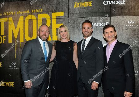 "Brendan Kelly, executive producer, writer; Tamara Chestna, executive producer; Eric Berger, EVP, Digital Networks, Sony Pictures Television and General Manager, Crackle; and Chuck Rose, creator, writer, executive producer, left to right, attend Crackle's ""The Art of More"" season two premiere, at the Museum of Arts and Design in New York. Sony's streaming network, Crackle, will launch season two of its first original scripted drama, ""The Art of More,"" on November 16th"