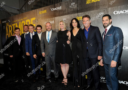 "From left to right, Chuck Rose, creator, writer, executive producer; Eric Berger, EVP, Digital Networks, Sony Pictures Television and General Manager, Crackle; actor Cary Elwes; actor Christian Cooke; Brendan Kelly, executive producer, writer; Tamara Chestna, executive producer; actress Sandrine Holt; actor and executive producer Dennis Quaid and actor Patrick Sabongui attend Crackle's ""The Art of More"" season two premiere, at the Museum of Arts and Design in New York. Sony's streaming network, Crackle, will launch season two of its first original scripted drama, ""The Art of More,"" on November 16th"