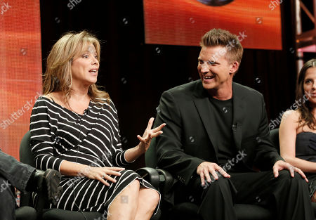 """Nancy Lee Grahn and Steve Burton attend the Disney ABC panel for """"General Hosptial"""" at the Beverly Hilton Hotel, in Beverly Hills, Calif"""