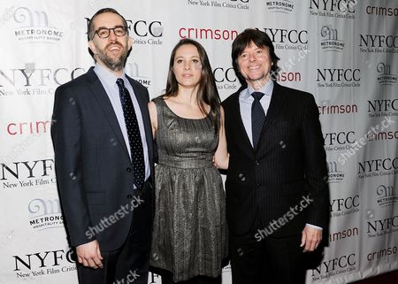 "Stock Image of The Central Park Five"" co-directors David McMahon, Sarah Burns, Ken Burns arrive at the New York Film Critics Circle awards dinner at the Crimson Club on in New York"
