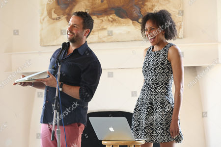 Gideon Lester, left, and Eisa Davis, 2012 Herb Alpert award winner in theatre, speak at the 2014 Herb Alpert Award in the Arts celebrating 20 years of supporting risk-taking artists on in Santa Monica, Calif. Honorees receives a $75,000 award recognizing their art in five categories