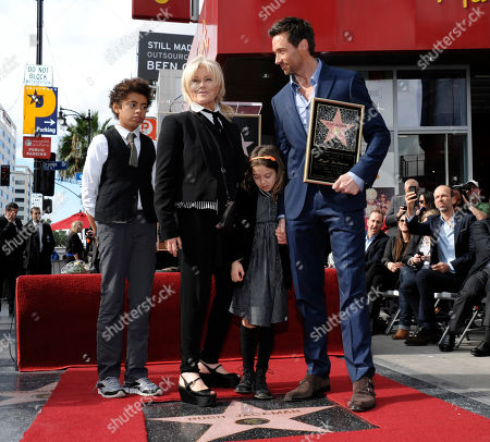 From left to right, Oscar Jackman, actress Deborra-Lee Furness, Ava Jackman, and actor Hugh Jackman pose together at Hugh Jackman's star ceremony at the Hollywood Walk of Fame, in Los Angeles