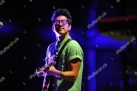 Stock Image of Dan Chang of Hunter Hunted performing at Verizon Wireless Amphitheatre, in Atlanta