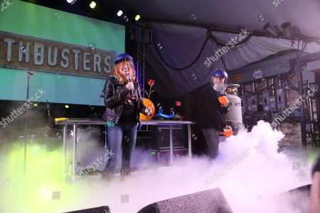 Kari Byron and Tory Belleci from Mythbusters (L-R) performs at the I F-ing Love Science Channel event during the 2014 SXSW Music, Film + Interactive Festival at Stubb's BBQ on in Austin Texas