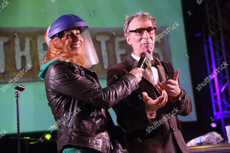 Kari Byron from Mythbusters (left) and Bill Nye The Science Guy performs at the I F-ing Love Science Channel event during the 2014 SXSW Music, Film + Interactive Festival at Stubb's BBQ on in Austin Texas