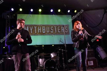Tory Belleci and Kari Byron from Mythbusters (L-R) performs at the I F-ing Love Science Channel event during the 2014 SXSW Music, Film + Interactive Festival at Stubb's BBQ on in Austin Texas