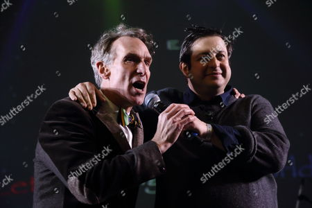 Bill Nye The Science Guy (left) and Eugene Mirman performs at the I F-ing Love Science Channel event during the 2014 SXSW Music, Film + Interactive Festival at Stubb's BBQ on in Austin Texas