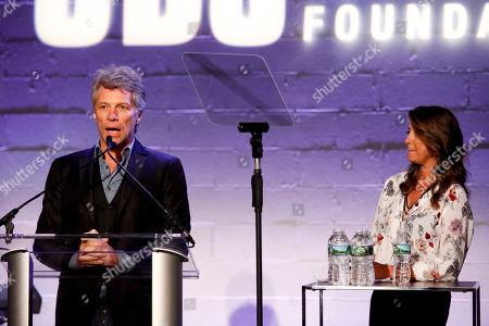 Jon Bon Jovi, left, and Dorothea Hurley, right, attend the Jon Bon Jovi Soul Foundation (JBJSF) benefit gala, celebrating ten years of combatting hunger and homelessness, at The Garage, in New York