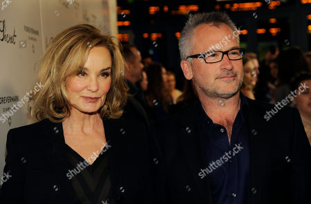"Jessica Lange, left, a cast member in ""In Secret,"" poses with the film's writer/director Charlie Stratton at the premiere of the film, in Los Angeles"