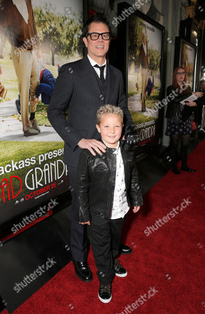 "Jackson Nicoll and Actor/Writer/Producer Johnny Knoxville attend the premiere of ""Jackass Presents Bad Grandpa"" at the TCL Chinese Theatre on in Los Angeles"