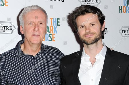 "James Cameron, left, and James Napier Robertson attend the LA Premiere of ""The Dark Horse"" held at The Theatre at Ace Hotel, in Los Angeles"