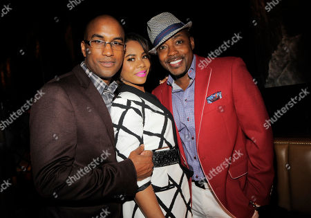"Tim Story, left, director of ""Think Like A Man Too,"" poses with cast member Regina Hall, center, and the film's producer William Packer at the post-premiere party for the film on in West Hollywood, Calif"
