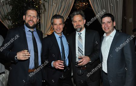 """From left, FX executive Nick Grad, actor Timothy Olyphant, actor David Meunier, and FX executive Eric Schrier attend the after party for the LA Premiere Screening of """"Justified at RivaBella, in West Hollywood, Calif"""