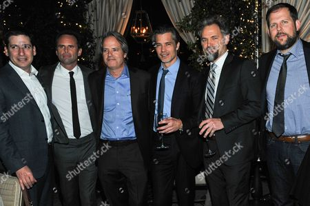 """From left, President, Original Programming for FX Networks and FX Prods. Eric Schrier, Walton Goggins, Executive Producer Graham Yost, Timothy Olyphant, David Meunier and President, Original Programming for FX Networks and FX Prods. Nick Grad attend the after party for the LA Premiere Screening of """"Justifiedâ?? at RivaBella on in West Hollywood, Calif"""