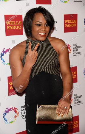 Actress Mya Taylor poses at the Los Angeles LGBT Center's 46th Anniversary Gala Vanguard Awards at the Hyatt Regency Century Plaza, in Los Angeles