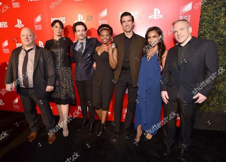 """Brian Michael Bendis, from left, Michelle Forbes, Noah Taylor, Susan Heyward, Logan Browning and Michael Avon Oeming attend the Los Angeles premiere of PlayStation's original series """"Powers"""" at Sony Pictures Studios on . """"Powers"""" premieres March 10 on PlayStation Network"""