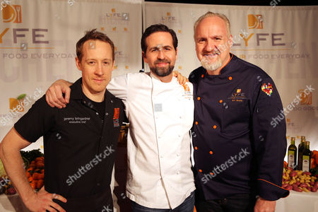 Chef Jeremy Bringardner, Chef Tal Ronnen and Chef Art Smith at the second Lyfe Kitchen grand opening celebration on in Culver City, CA