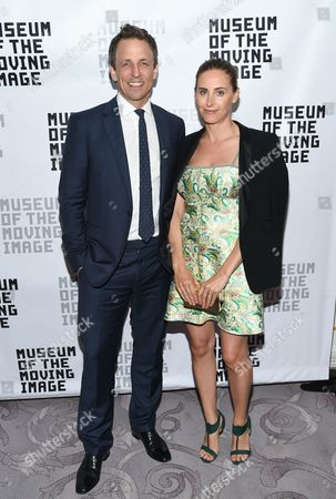 Honoree, talk show host Seth Meyers and his wife Alexi Meyers attend the Museum of the Moving Image's 2016 Industry Tribute at the St. Regis Hotel, in New York