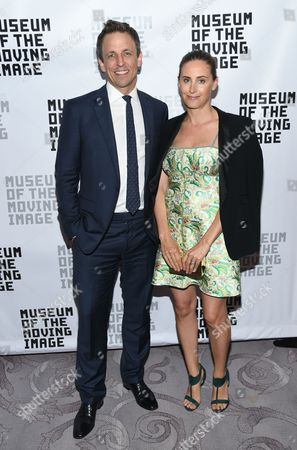 Stock Picture of Honoree, talk show host Seth Meyers and wife Alexi Meyers attend the Museum of the Moving Image's 2016 Industry Tribute at the St. Regis Hotel, in New York