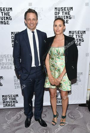 Honoree, talk show host Seth Meyers and wife Alexi Meyers attend the Museum of the Moving Image's 2016 Industry Tribute at the St. Regis Hotel, in New York