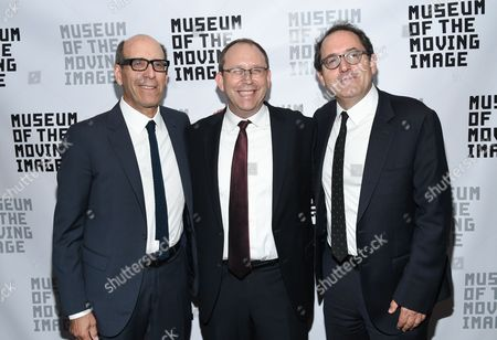 Museum of the Moving Image executive director Carl Goodman, center, poses with Matt Blank, left, and Michael Barker at the Museum of the Moving Image's 2016 Industry Tribute at the St. Regis Hotel, in New York
