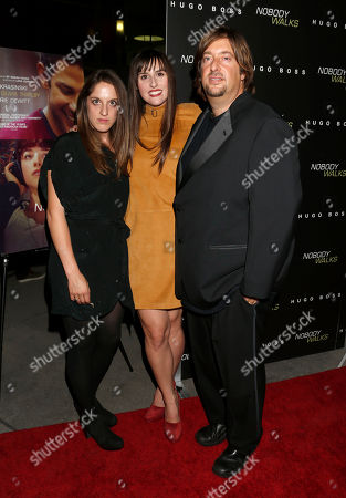 "Producers Alicia Van Couvering, Director Ry Russo-Young and producer Jonathan Schwartz arrive at the premiere of ""Nobody Walks"", in Los Angeles"