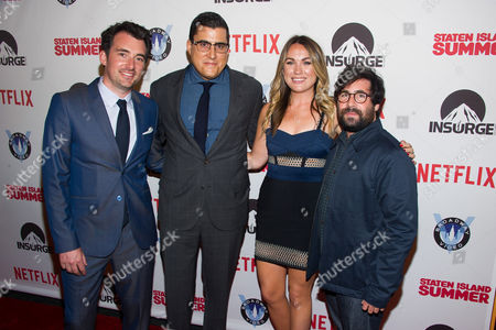 "Rhys Thomas, left, Andrew Singer, Erin Doyle and Sam Grey attend the premiere of ""Staten Island Summer"" at the Sunshine Landmark Theater, in New York"