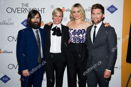 "Jason Schwartzman, left, Judith Godreche, Taylor Schilling and Adam Scott attend the premiere of ""The Overnight"" at the Sunshine Landmark, in New York"