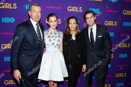 """Brian Williams, from left, Allison Williams, Jane Stoddard Williams and Douglas Williams attend the after party following the premiere of HBO's """"Girls"""" third season on in New York"""