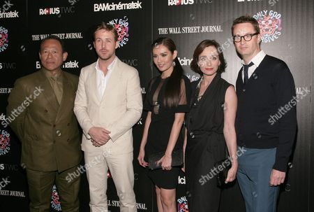 "Actors, from left, Vithaya Pansringarm, Ryan Gosling, Yayaying Rhatha Phongam, Kristin Scott Thomas and director Nicolas Winding Refn attend a screening of ""Only God Forgives"" on in New York"