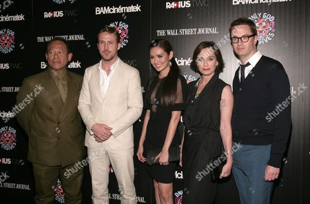 "Stock Image of From left, actors Vithaya Pansringarm and Ryan Gosling, actresses Yayaying Rhatha Phongam and Kristin Scott Thomas and director Nicolas Winding Refn attend a screening of ""Only God Forgives"" on in New York"