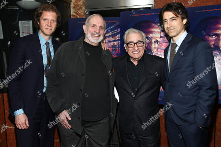"""Jake Paltrow, from left, Brian De Palma, Martin Scorsese and Noah Baumbach attend a special screening of """"De Palma"""" at the DGA Theater, in New York"""