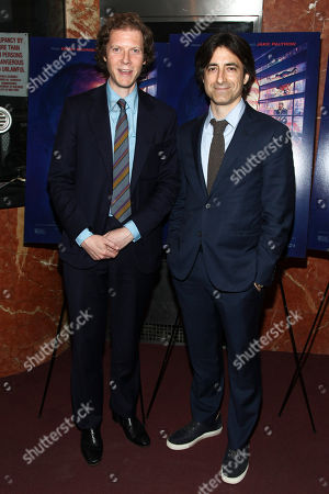 """Jake Paltrow, left, and Noah Baumbach, right, attend a special screening of """"De Palma"""" at the DGA Theater, in New York"""