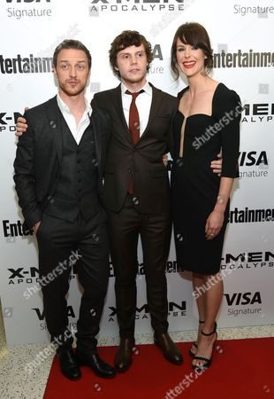 """Stock Picture of James McAvoy, from left, Evan Peters and Carolina Bartczak attend a special screening of """"X-Men: Apocalypse"""" at Time Inc., in New York"""